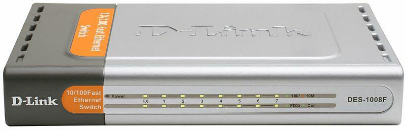 D-Link DES-1008F Вид спереди