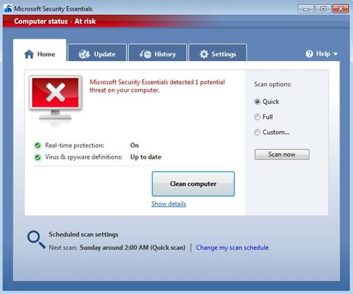 Microsoft Security Essentials не защищает ваш компьютер. Красный значок означает, что ваш компьютер под угрозой
