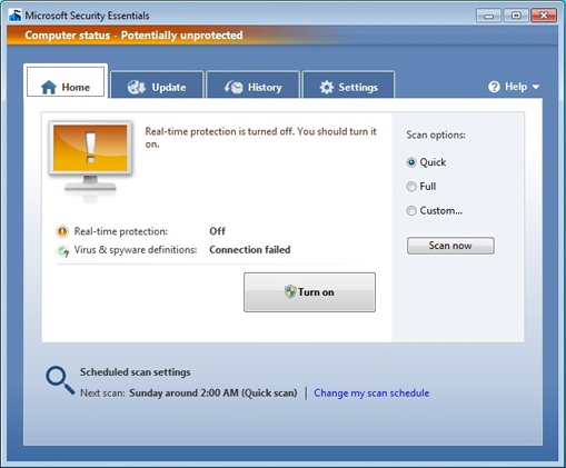 Ваш компьютер не защищен Microsoft Security Essentials